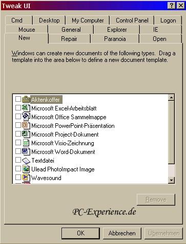 PC-Experience Windows NT, 2000, XP, Tipps und Tricks: | Der Tweak UI ...