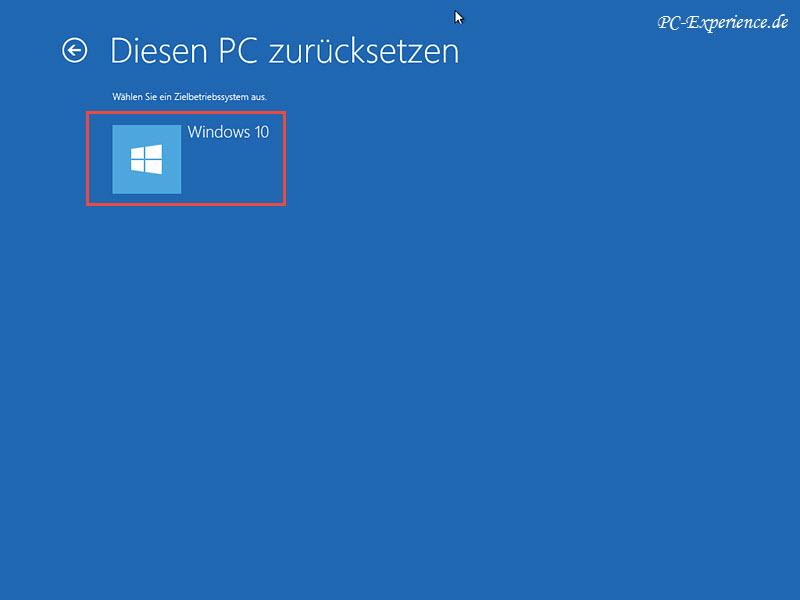 rücksetzung von windows 10