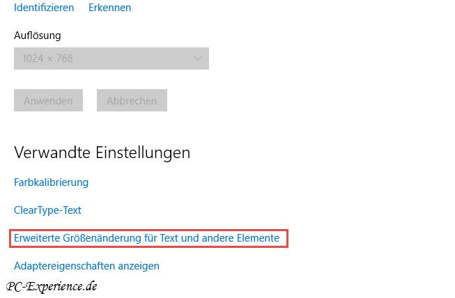 erweiterte anzeigeeinstellungen windows 10