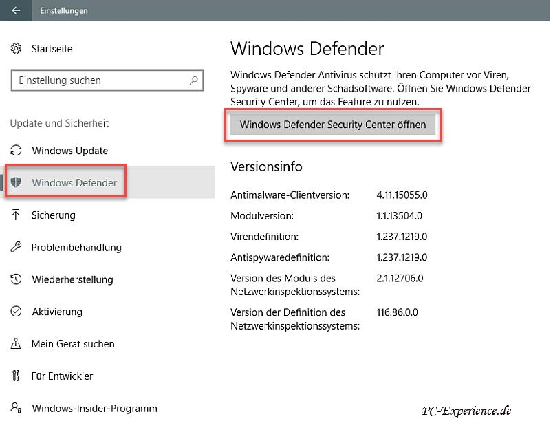 Windows Defender Security Center öffnen