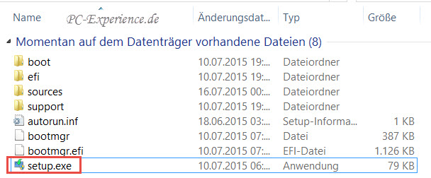Windows 10 Upgrade mit Medium