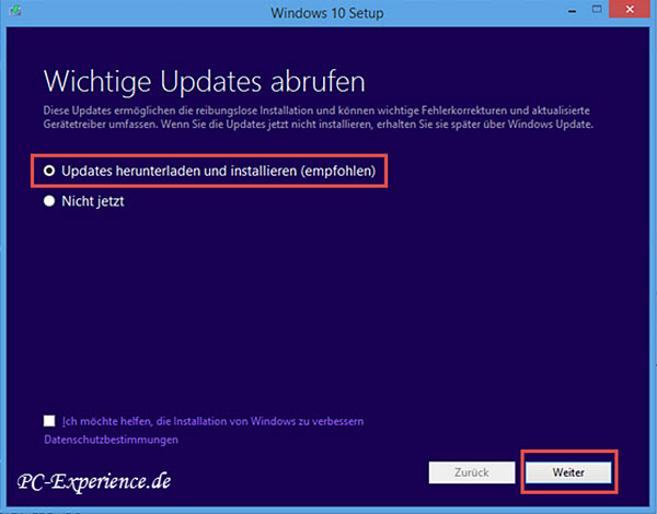Windows 10 Upgrade mit Medium 1