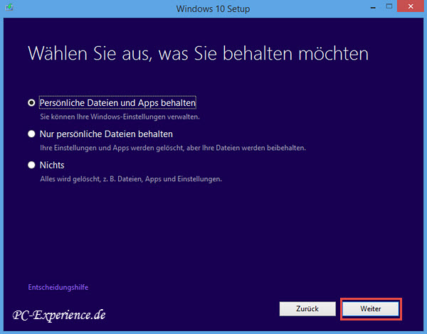 Windows 10 Upgrade mit Medium 5